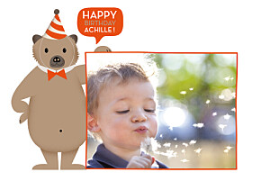 Carte d'anniversaire orange nounours orange
