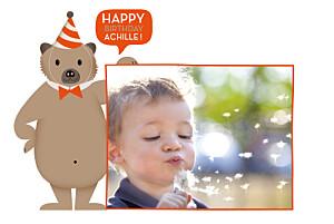 Carte d'anniversaire orange nounours orange