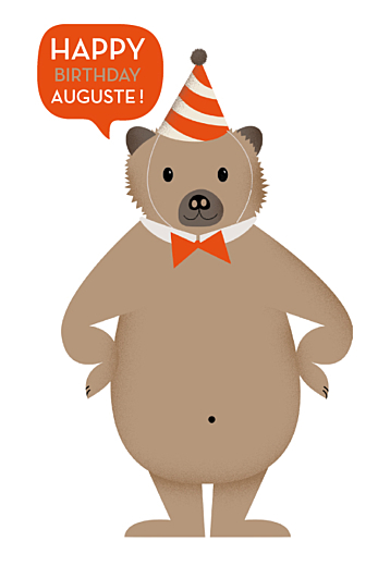Carte d'anniversaire Nounours photo (4 pages) orange