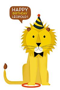 Carte d'anniversaire jaune lion photo (4 pages) jaune