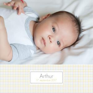 Faire-part de naissance Oxford 2 photos jaune
