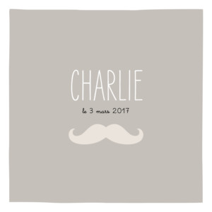 Faire-part de naissance Moustache 1 photo taupe