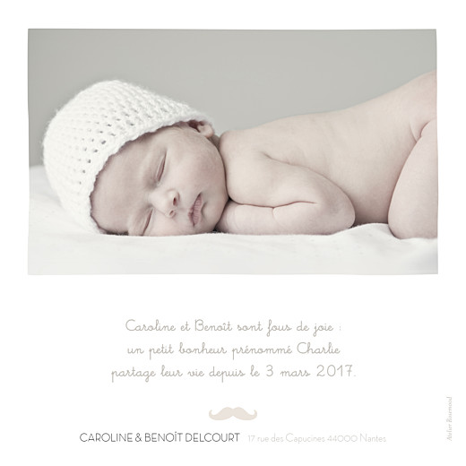 Faire-part de naissance Moustache 1 photo taupe - Page 2