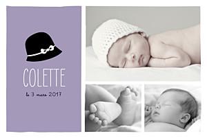 Faire-part de naissance violet coquette paysage 3 photos lilas