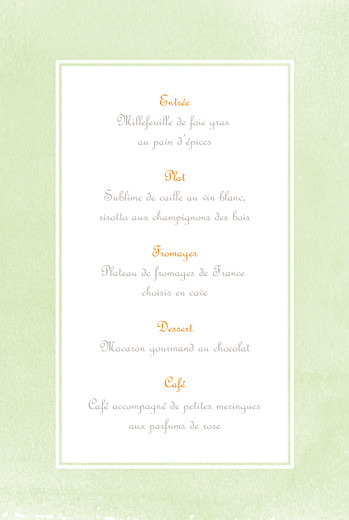 Menu de baptême Aquarelle (4 pages) orange - Page 3