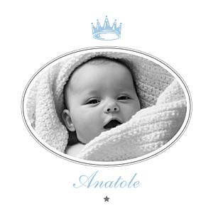 Carte de remerciement Merci couronne photo bleu