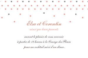Carton d'invitation mariage Hollywood corail