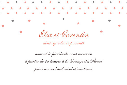 Carton d'invitation mariage Hollywood corail - Page 1