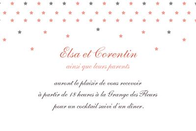 Carton d'invitation mariage Hollywood corail finition