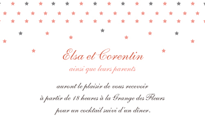 Carton d'invitation mariage Hollywood corail finition