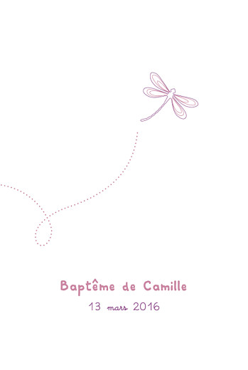Menu de baptême Libellule (4 pages) prune