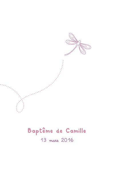 Menu de baptême Libellule (4 pages) prune finition