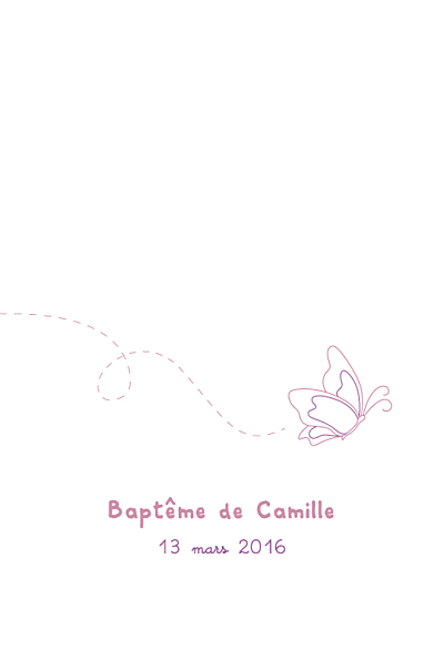 Menu de baptême Papillon prune finition