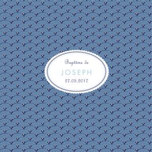 Faire-part de baptême Pattern écusson bleu