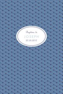 Menu de baptême Pattern écusson (4 pages) bleu