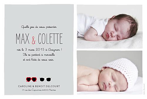 Faire-part de naissance Jumeaux lunettes gris & rouge