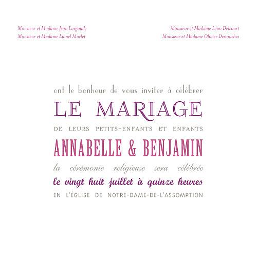 Faire-part de mariage Le plus beau jour (carré) blanc