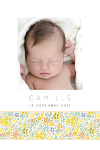 Faire-part de naissance orange ruban mille fleurs photo jaune