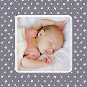 Carte de remerciement violet merci nuit étoilée photo gris et rose pâle