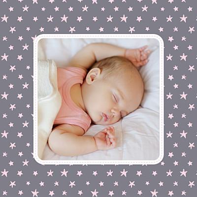Carte de remerciement Merci nuit étoilée photo gris et rose pâle finition