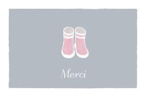 Carte de remerciement Merci balade fond gris & bottes bébé fille
