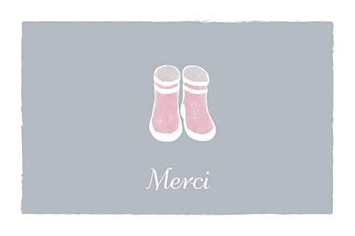 Carte de remerciement Merci balade fond gris & bottes bébé fille finition