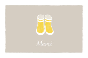 Carte de remerciement Merci balade photo beige jaune