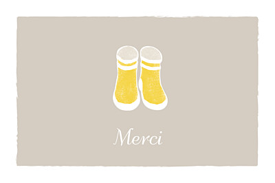 Carte de remerciement Merci balade photo beige jaune finition