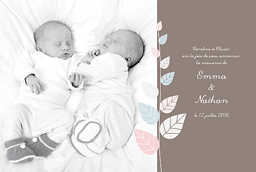 Faire-part de naissance Jumeaux elégance rose et bleu