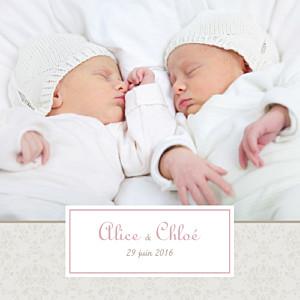 Faire-part de naissance jumeaux jumeaux ambiance florale rose