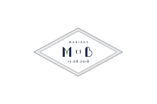 Carton d'invitation mariage Monogramme bleu nuit
