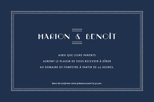 Carton d'invitation mariage Monogramme bleu nuit - Page 2