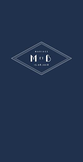 Menu de mariage Monogramme bleu nuit