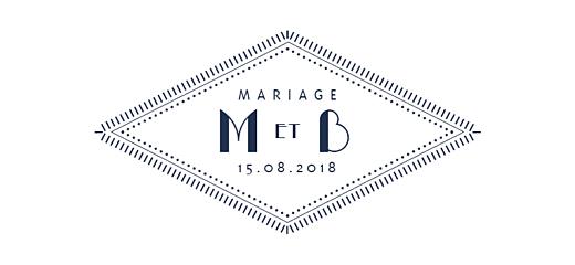 Etiquette de mariage Monogramme bleu nuit