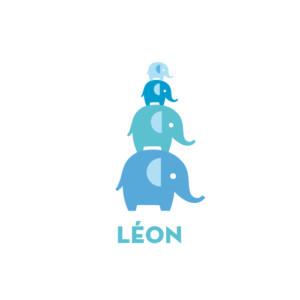 Faire-part de naissance Pyramide 4 éléphants 4p bleu