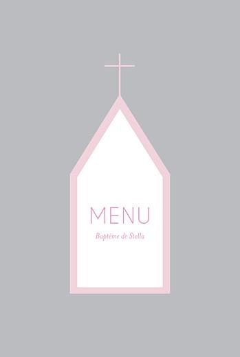 Menu de baptême Petite église rose gris