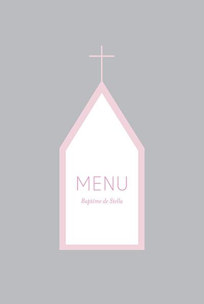 Menu de baptême Petite église rose gris finition