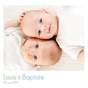 Faire-part de naissance jumeaux jumeaux simple 4 photos blanc