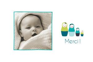 Carte de remerciement Merci 4 poupées turquoise