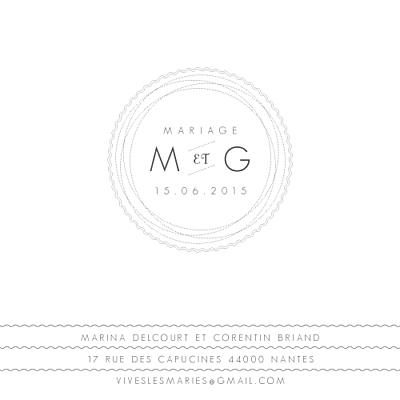 Carton réponse mariage Design blanc finition