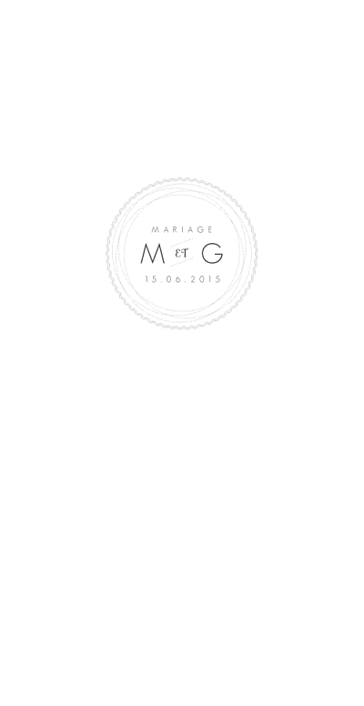 Menu de mariage Design blanc finition