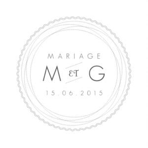 Etiquette de mariage Design blanc