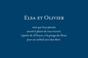 Carton d'invitation mariage Chic bleu roi