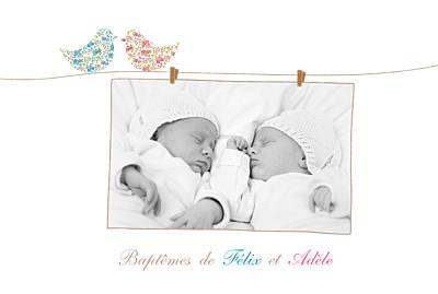 Faire-part de baptême Poétique jumeaux mixte finition