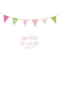 Menu de baptême frère et sœur fanions rose vert