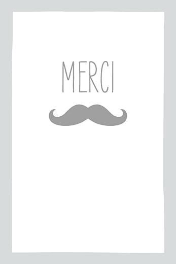 Carte de remerciement Moustache portrait 4 photos gris