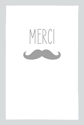 Carte de remerciement Moustache portrait 4 photos gris