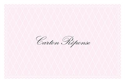 Carton réponse mariage Gourmand raffiné rose finition