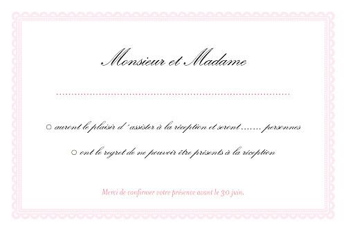 Carton réponse mariage Gourmand raffiné rose - Page 2