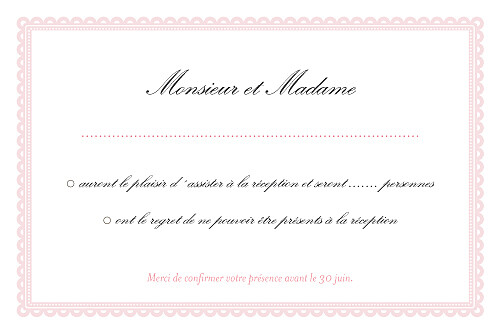 Carton réponse mariage Gourmand rose - Page 2